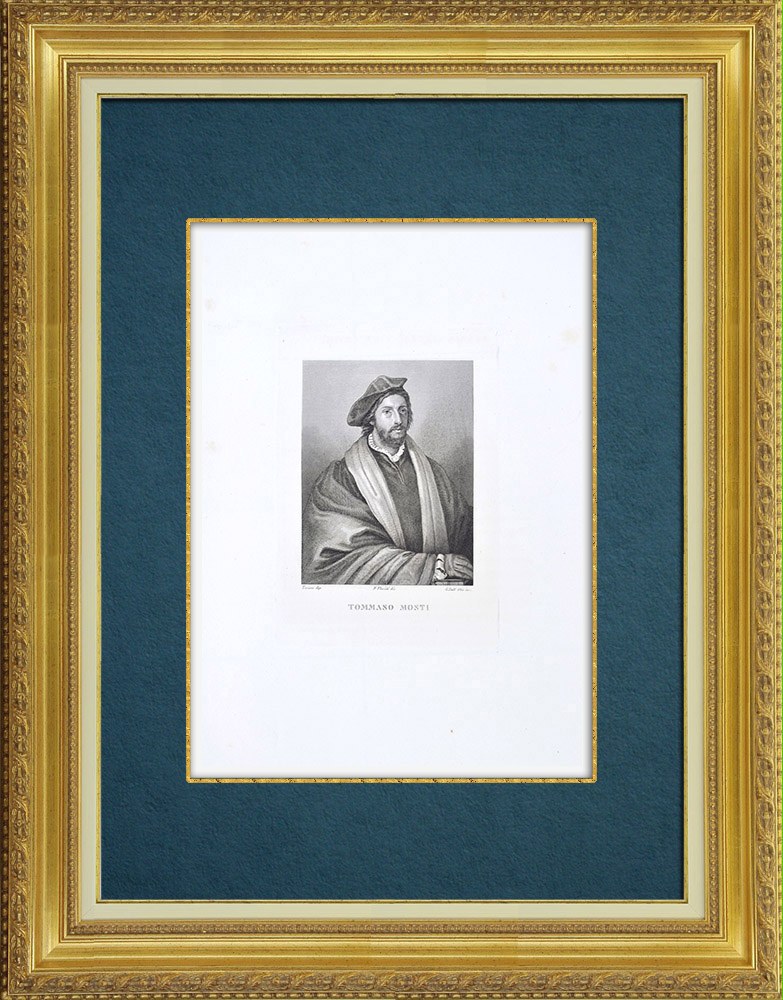 Gravures Anciennes & Dessins | Galerie Palatine - Florence - Portrait de Vincenzo Mosti (Le Titien) | Gravure à l'eau-forte | 1842