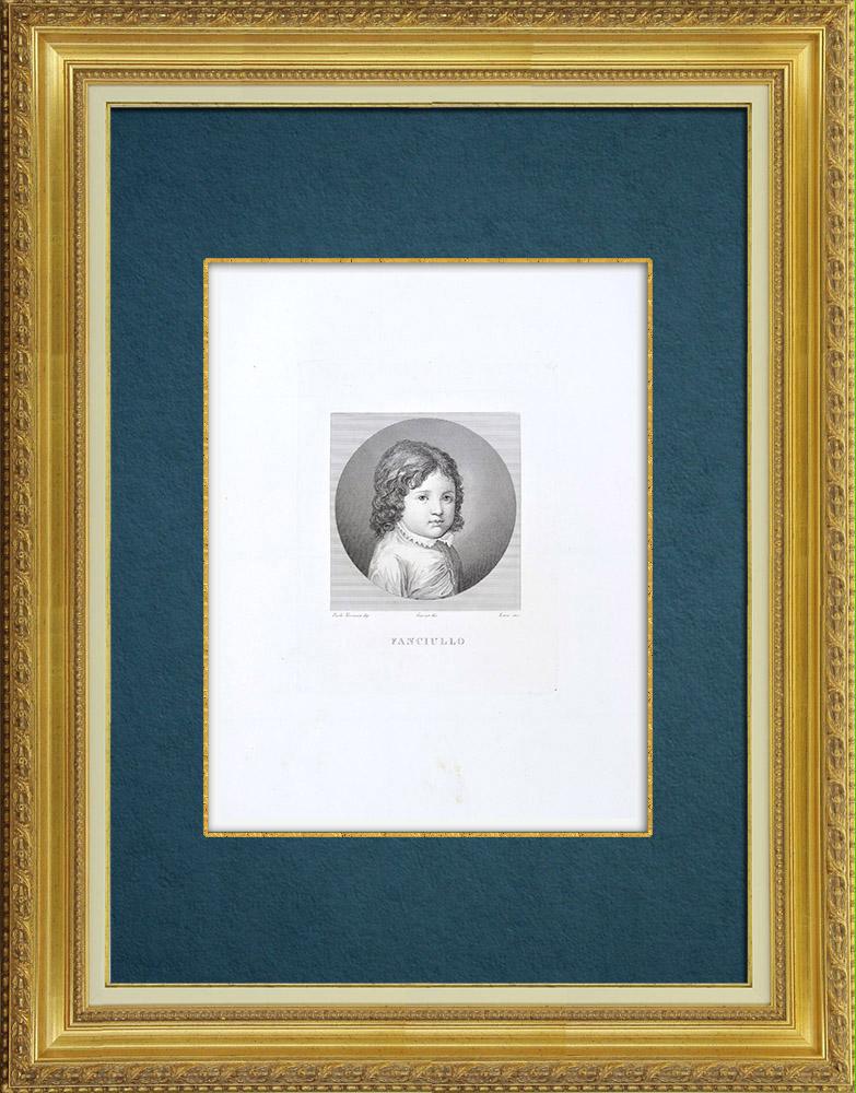 Gravures Anciennes & Dessins | Portrait d'un enfant (Véronèse) | Gravure à l'eau-forte | 1842