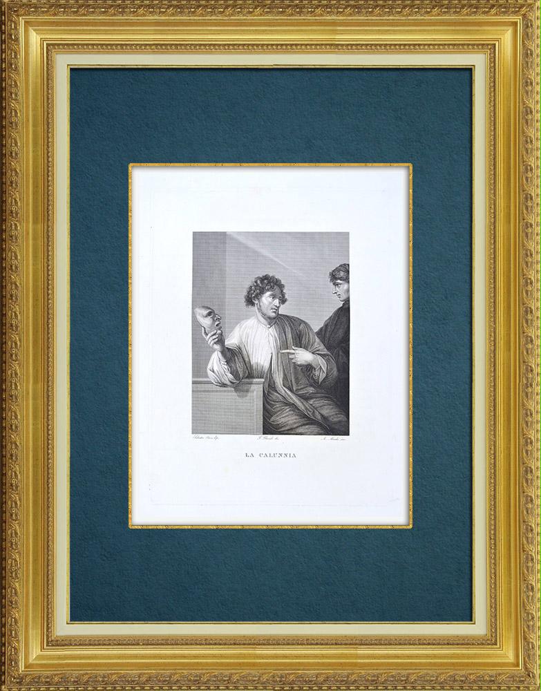 Gravures Anciennes & Dessins | Galerie Palatine - Florence - La Menzogna - Mensonge (Salvator Rosa) | Gravure à l'eau-forte | 1842