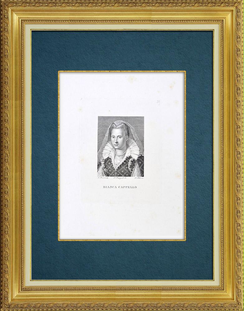 Gravures Anciennes & Dessins   Galerie Palatine - Palazzo Pitti - Florence - Portrait de Bianca Cappello (Bronzino)    Gravure à l'eau-forte   1842