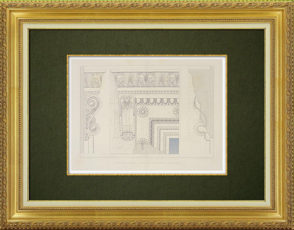 Antique Prints & Drawings   Architecture - Erechtheum of Acropolis of Athens - Portico of Pandroseion (Greece)   Intaglio print   1863