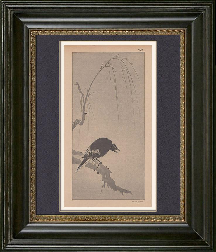 Gravures Anciennes & Dessins   Art Japonais - Kakemono - Peinture - Oiseau (Sesson Shukei)   Typogravure   1889