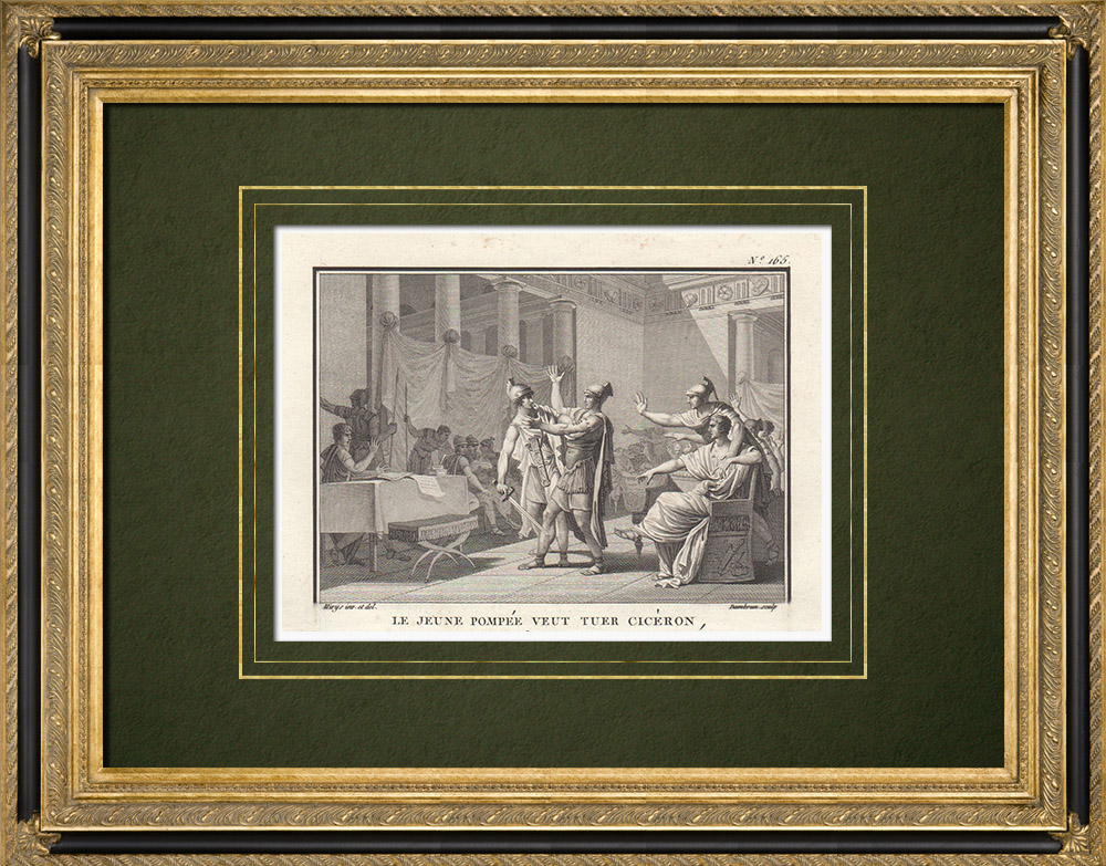 Antique Prints & Drawings | Ancient Rome - The young Pompey wants to kill Cicero (Year of Rome 704) | Copper engraving | 1800