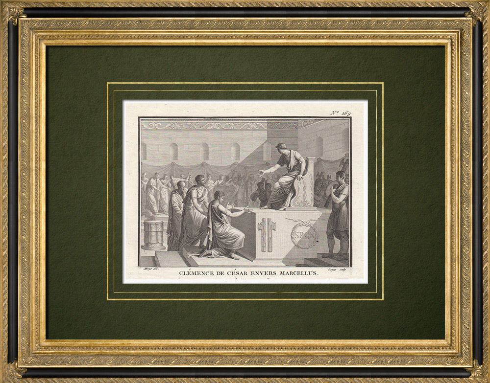 Antique Prints & Drawings   Ancient Rome - Caesar's clemency against Marcellus (Year of Rome 706)   Copper engraving   1800