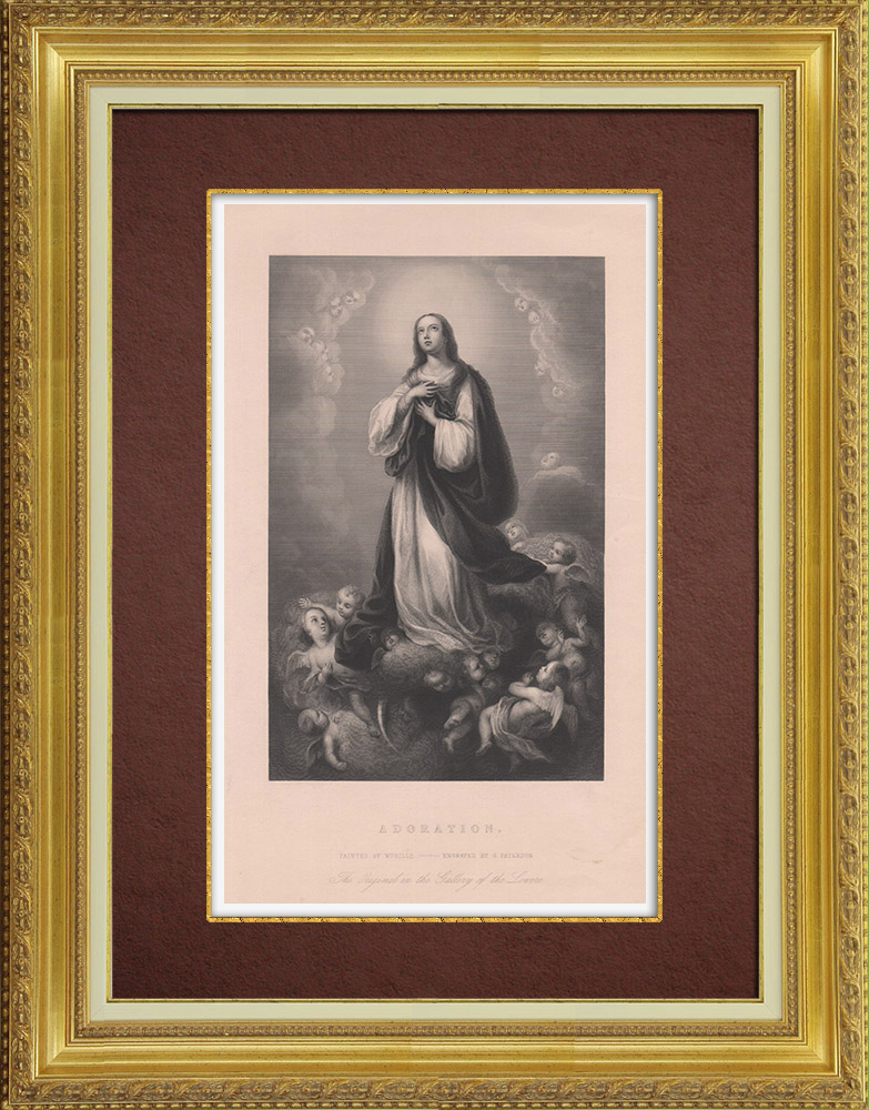 Gravures Anciennes & Dessins | Adoration - Vierge Marie - Anges (Murillo) | Taille-douce | 1845