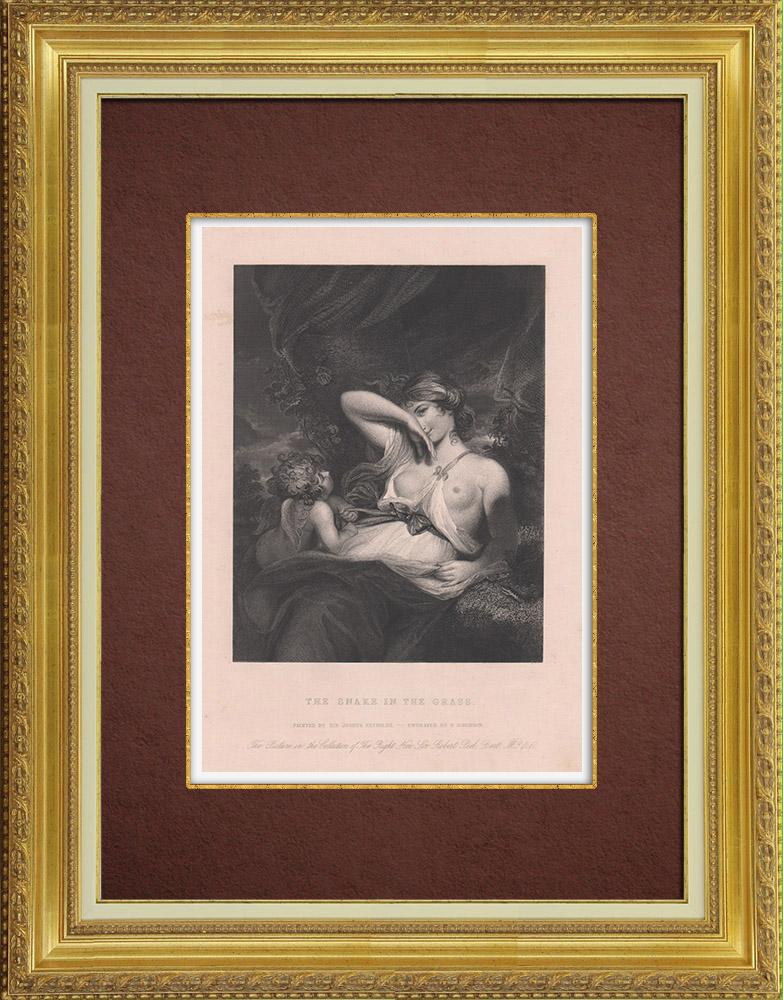 Gravures Anciennes & Dessins | Une Nymphe et Cupidon - Le Serpent dans l'herbe (Joshua Reynolds) | Taille-douce | 1845