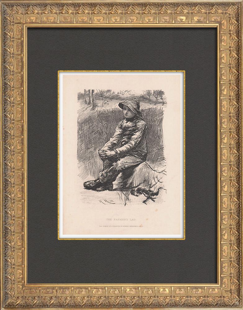 Gravures Anciennes & Dessins | Le Garçon de ferme | Gravure à l'eau-forte | 1882