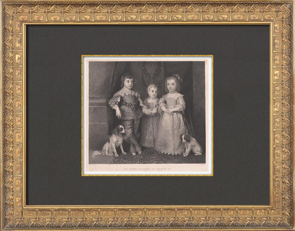 Gravures Anciennes & Dessins   Portrait - Les trois Enfants de Charles Ier (Van Dyck)   Taille-douce   1845