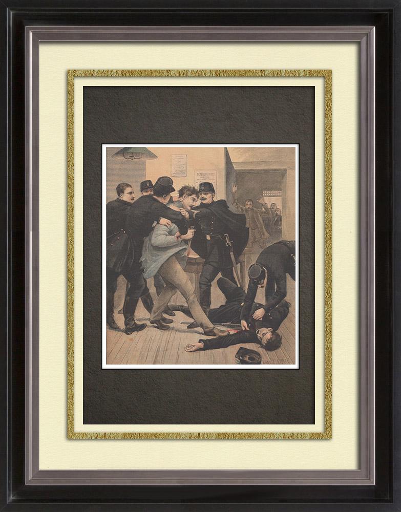 Gravures Anciennes & Dessins | Assassinat par un anarchiste | Gravure sur bois | 1895