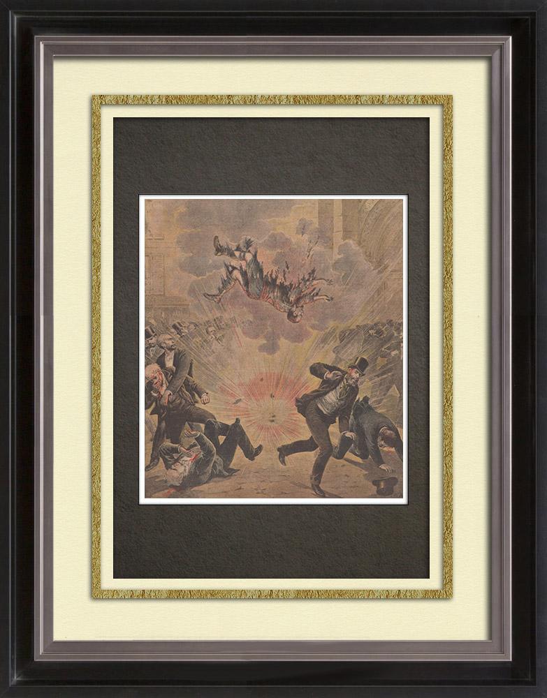 Gravures Anciennes & Dessins   Attentat d'Aniche - Mort de l'assassin - France - 1895   Gravure sur bois   1895