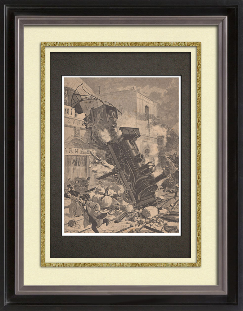Antique Prints & Drawings   Accident - Gare Montparnasse - Paris - October 1895   Wood engraving   1895