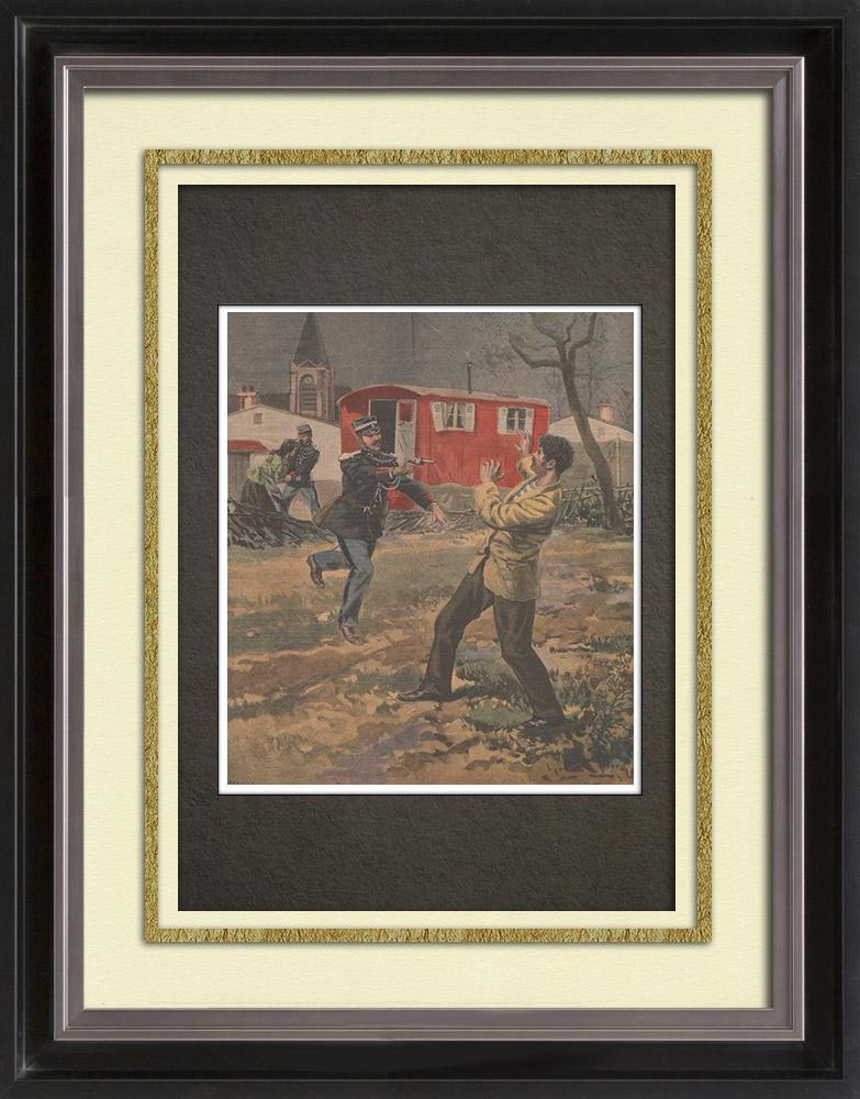Gravures Anciennes & Dessins | Arrestation de voleurs d'enfants - 19ème Siècle | Gravure sur bois | 1898