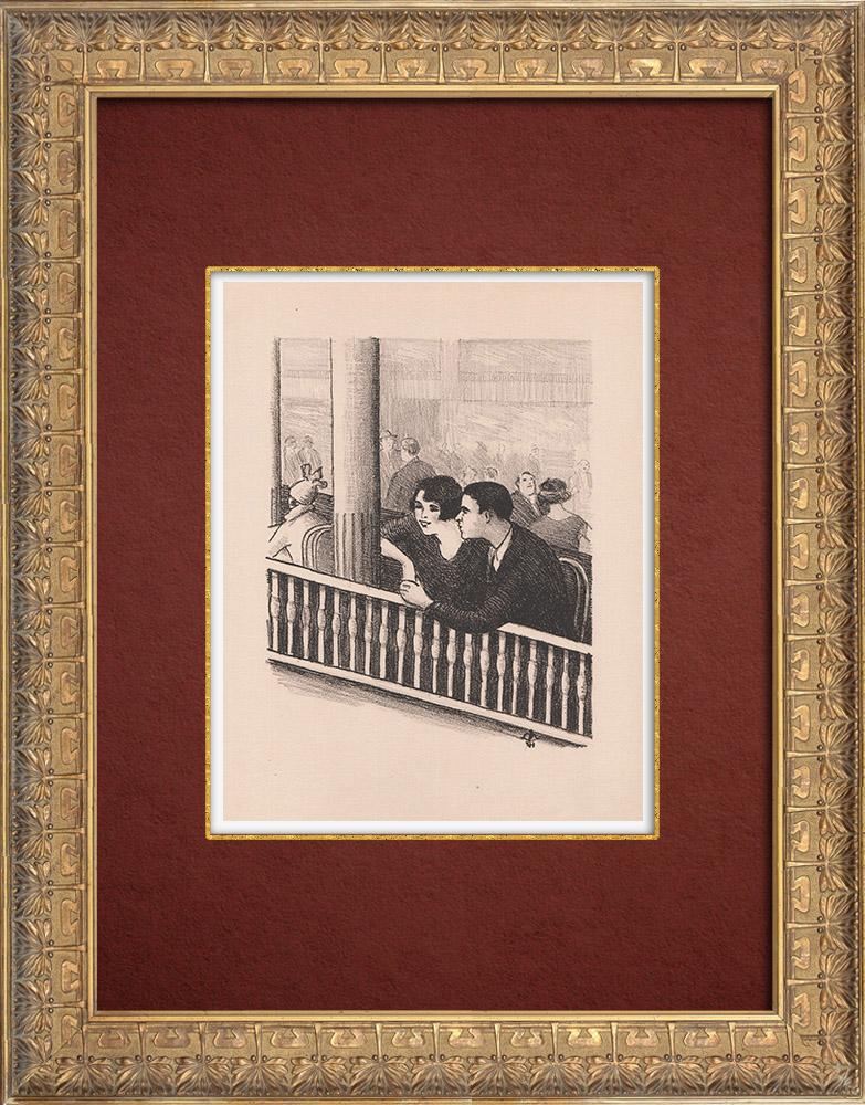 Gravures Anciennes & Dessins   Moulin Rouge - Cabaret Parisien - Montmartre - Années Folles - Idylle   Lithographie   1925