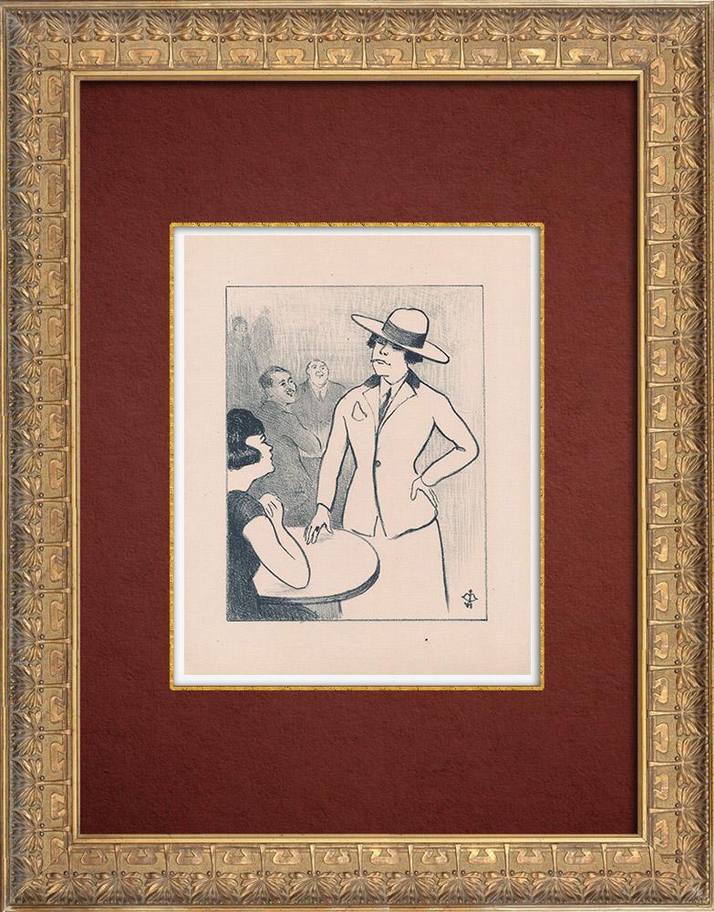 Gravures Anciennes & Dessins | Moulin Rouge - Cabaret Parisien - Montmartre - Années Folles - La Garçonne | Lithographie | 1925