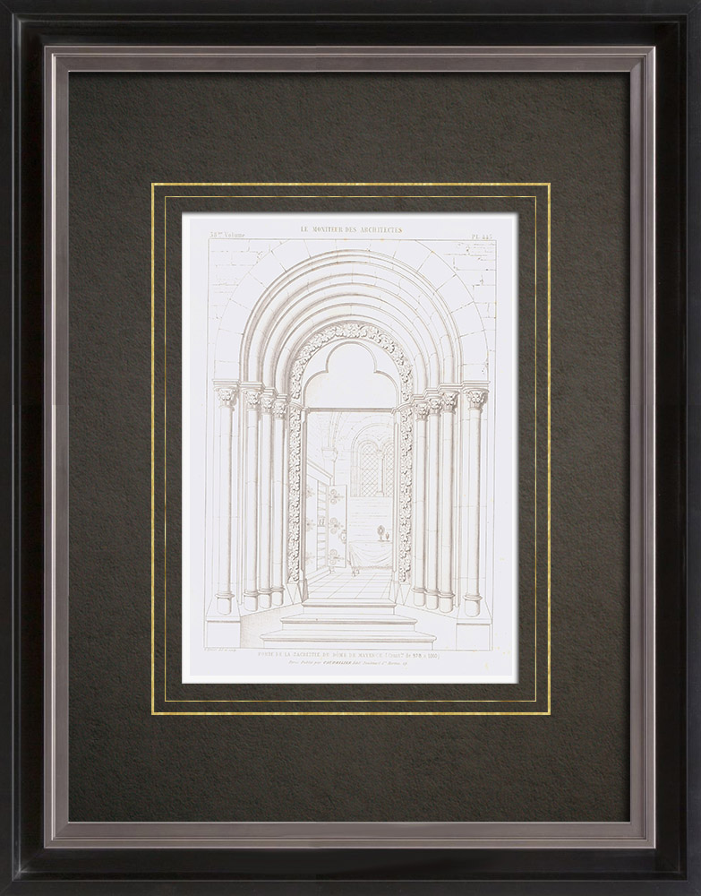 Antique Prints & Drawings | Architect's Drawing - Cathedral of Mainz - Sacristy - Rhineland-Palatinate (Germany) | Intaglio print | 1856