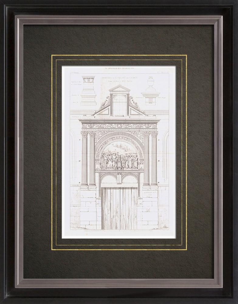 Antique Prints & Drawings | Architect's Drawing - Church of Cergy - Portal - Île-de-France (A. Leblan) | Intaglio print | 1856