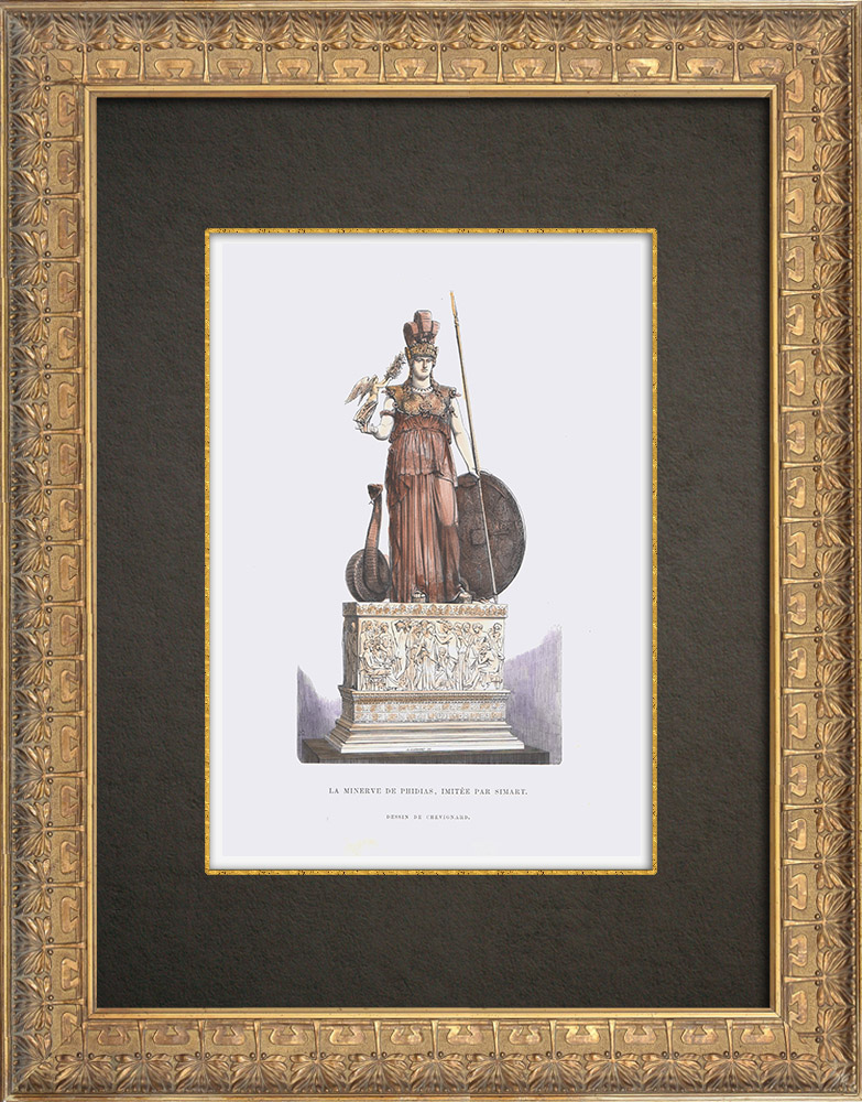Antique Prints & Drawings   Sculpture - Minerva by Phidias imitated by Simart   Wood engraving   1862