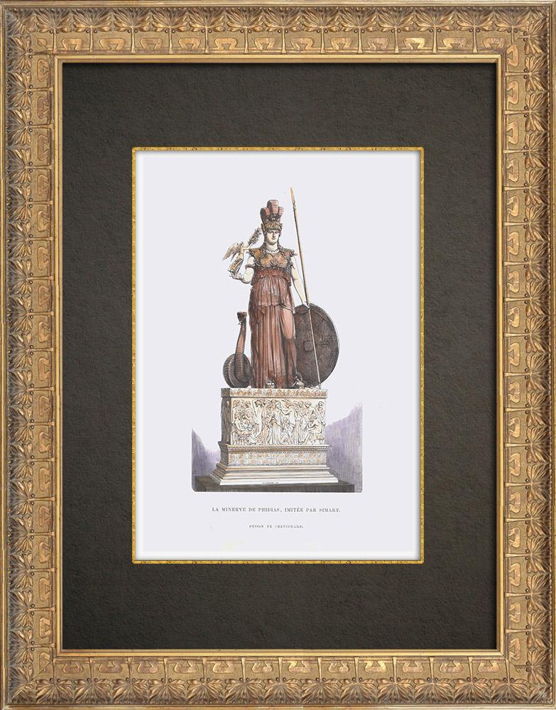 Grabados & Dibujos Antiguos | Escultura - Minerva de Fidias imitada por Simart | Grabado xilográfico | 1862
