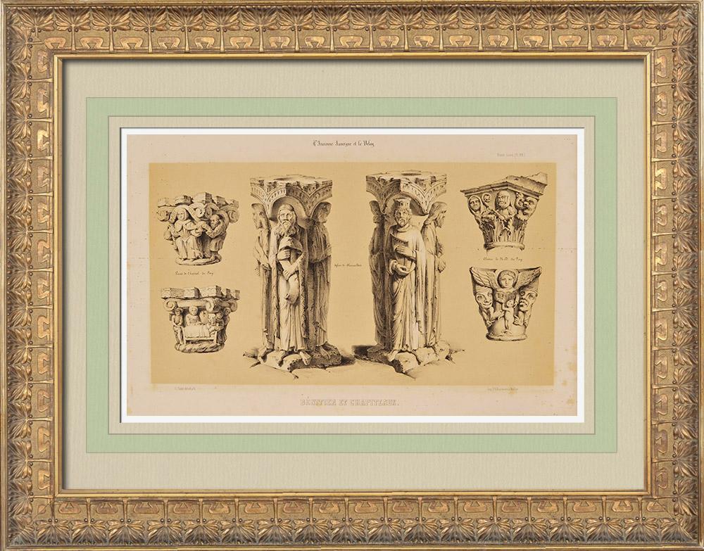 Gravures Anciennes & Dessins | Bénitier et Chapiteaux - Auvergne - Puy-de-Dôme (France) | Lithographie | 1843