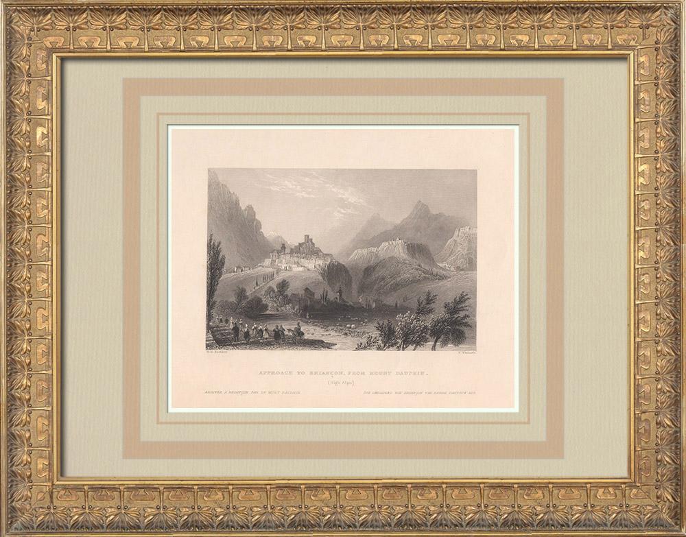 Gravures Anciennes & Dessins | Arrivée à Briançon par le Mont Dauphin - Hautes-Alpes (France) | Taille-douce | 1836