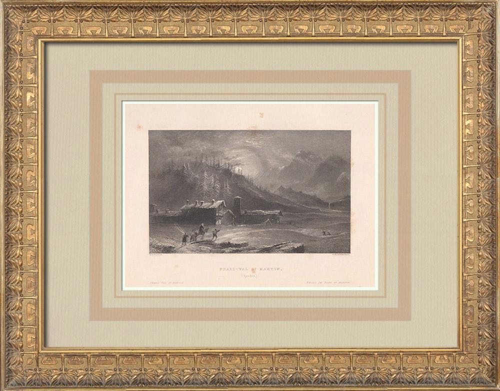 Gravures Anciennes & Dessins | Vue de Prali - Val Germanasca - Turin - Piémont (Italie) | Taille-douce | 1836