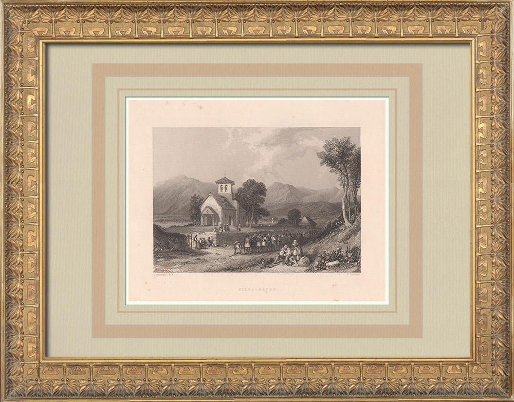 Gravures Anciennes & Dessins | Eglise de Fillinges - Haute-Savoie (France) | Taille-douce | 1836