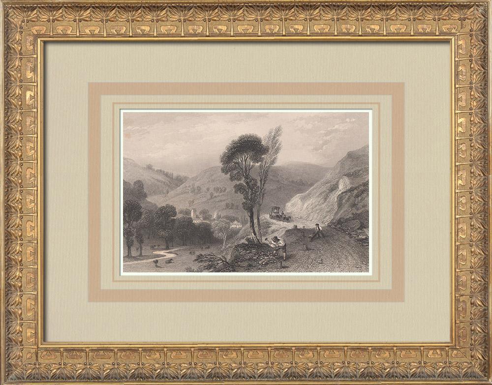 Gravures Anciennes & Dessins   Vue de Fouday - Ban de la Roche - Bas-Rhin (France)    Taille-douce   1836