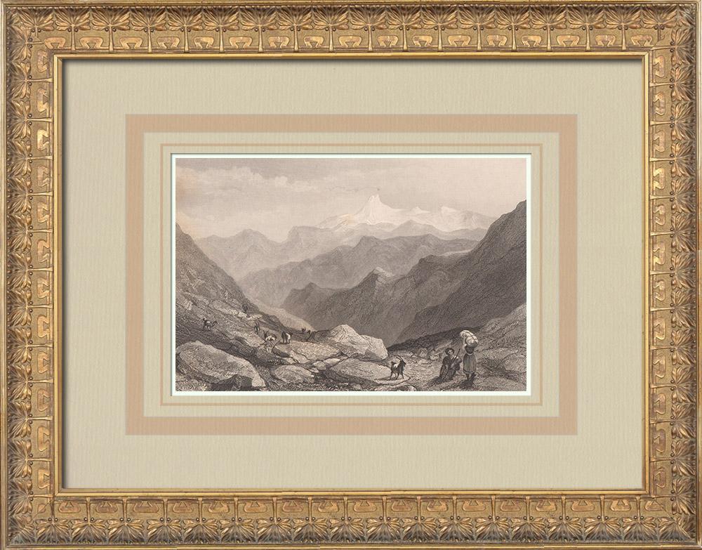Gravures Anciennes & Dessins | Vue du Mont Viso prise du col de Julien - Monviso - Piémont (Italie) | Taille-douce | 1836