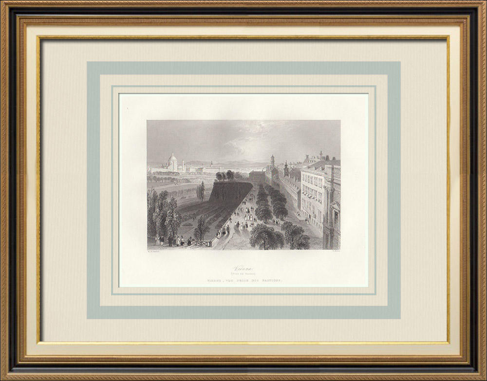 Antique Prints & Drawings   Vienna - View from the bastions (Austria)   Intaglio print   1844