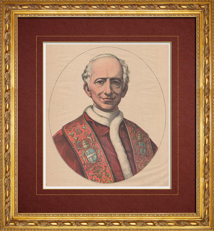 Gravures Anciennes & Dessins   Portrait du Pape Léon XIII (1810-1903)   Gravure sur bois   1891