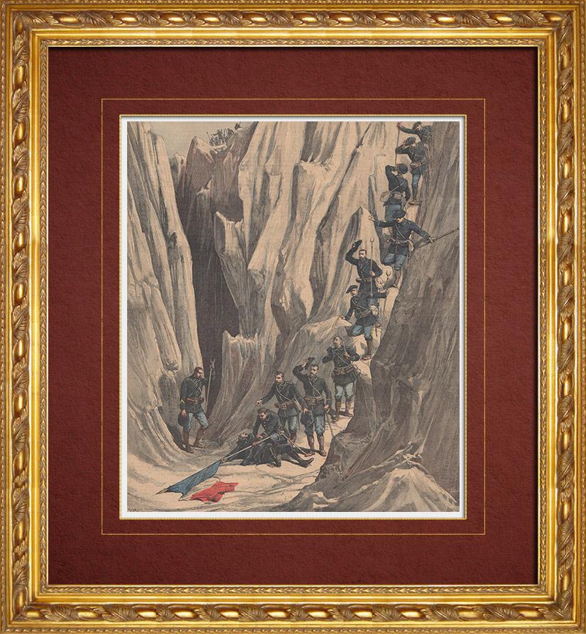 Gravures Anciennes & Dessins   Mort du Lieutenant Bujon - Chasseurs alpins (1891)   Gravure sur bois   1891