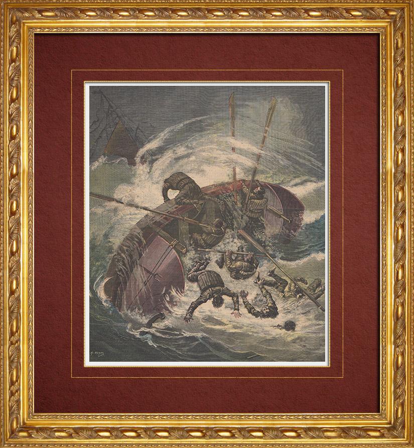 Gravures Anciennes & Dessins | Tempêtes - Sauvetage aux Sables-d'Olonne - Sauveteurs - France | Gravure sur bois | 1891
