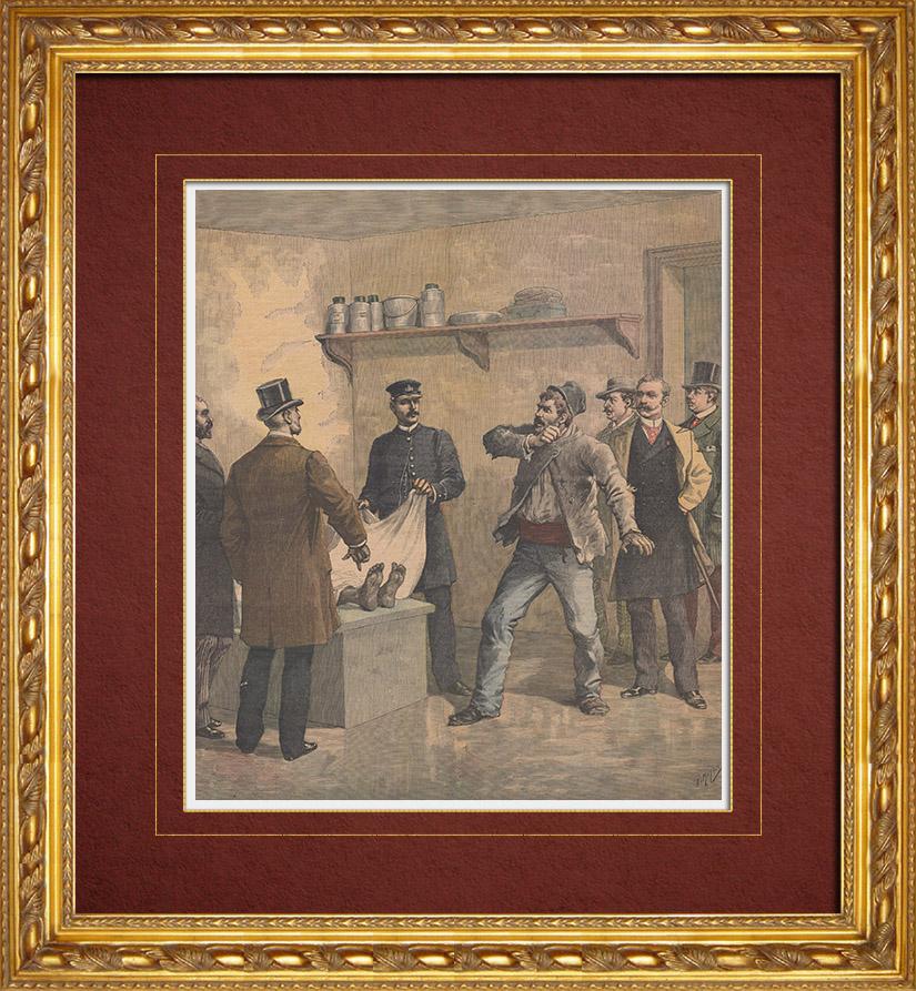 Gravures Anciennes & Dessins | Meurtre - Confrontation à la morgue - 19ème Siècle | Gravure sur bois | 1891