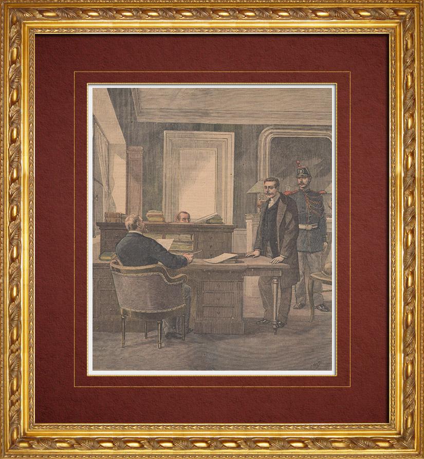 Gravures Anciennes & Dessins | Meurtre sur le Boulevard du Temple à Paris - Anastay chez le juge - 1892 | Gravure sur bois | 1892
