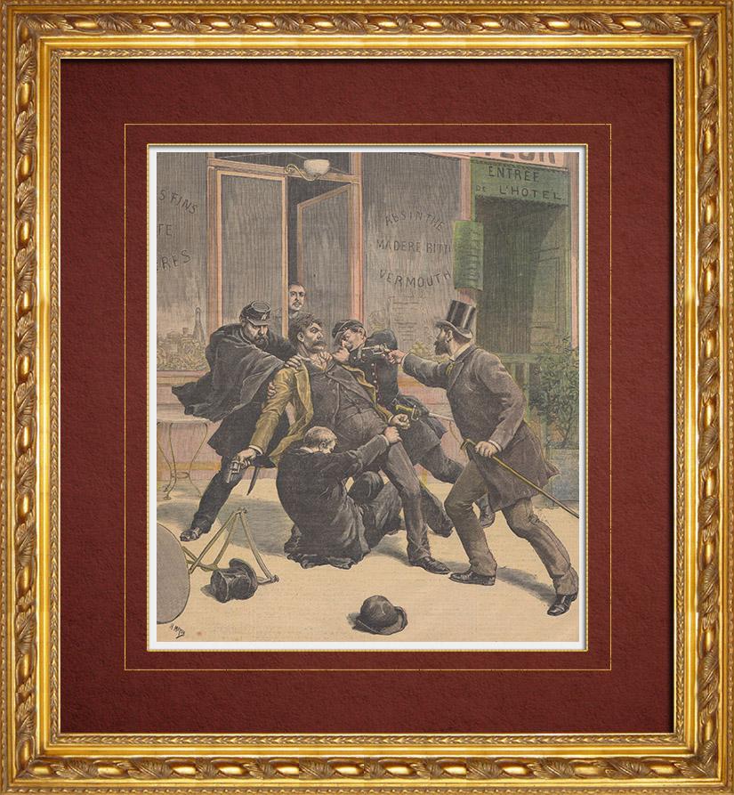 Gravures Anciennes & Dessins | Arrestation de Ravachol - Anarchiste français (30 Mars 1892) | Gravure sur bois | 1892