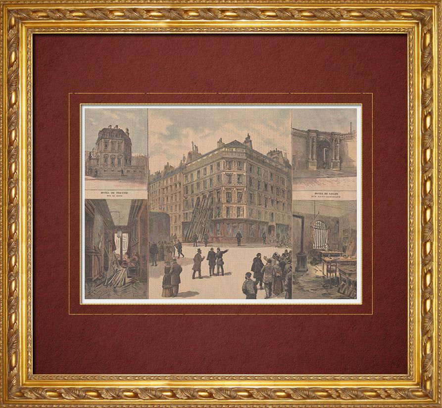 Gravures Anciennes & Dessins | Ravachol - Anarchiste français - Explosions à Paris - 19ème Siècle | Gravure sur bois | 1892