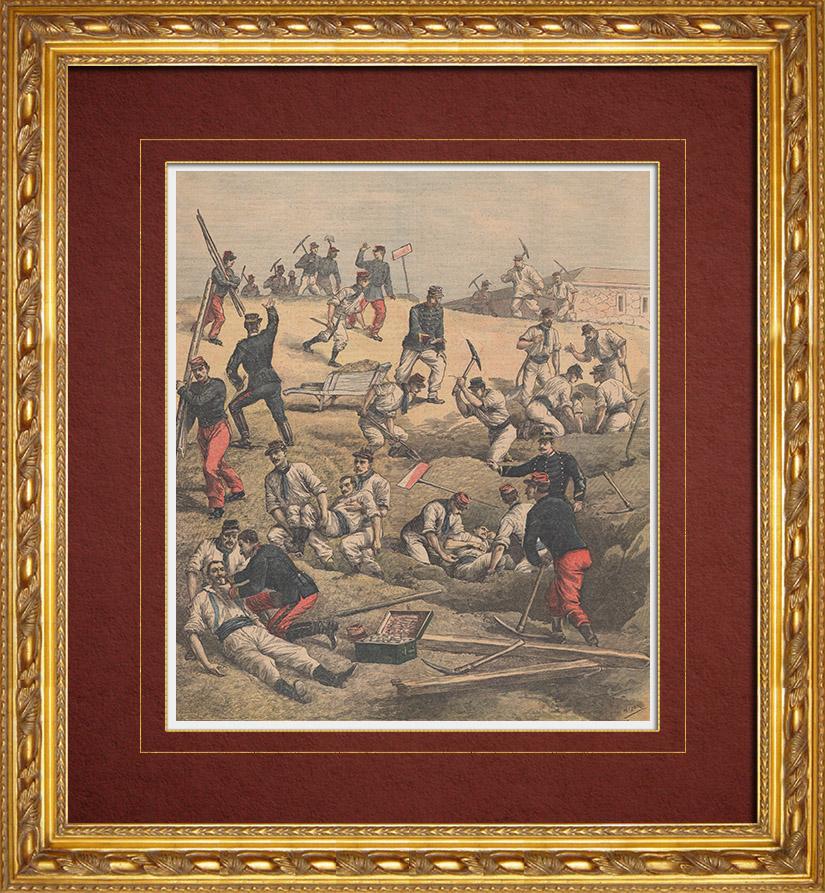 Gravures Anciennes & Dessins   Eboulement au Fort d'Aubervilliers - Sauvetage des militaires (1892)   Gravure sur bois   1892