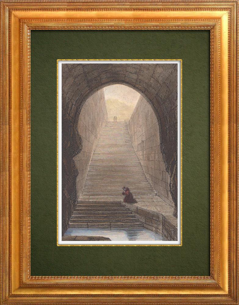 Gravures Anciennes & Dessins   Vue de Jérusalem - Bassin de Siloé - Bassin d'Ézéchias (Israël)   Taille-douce   1839