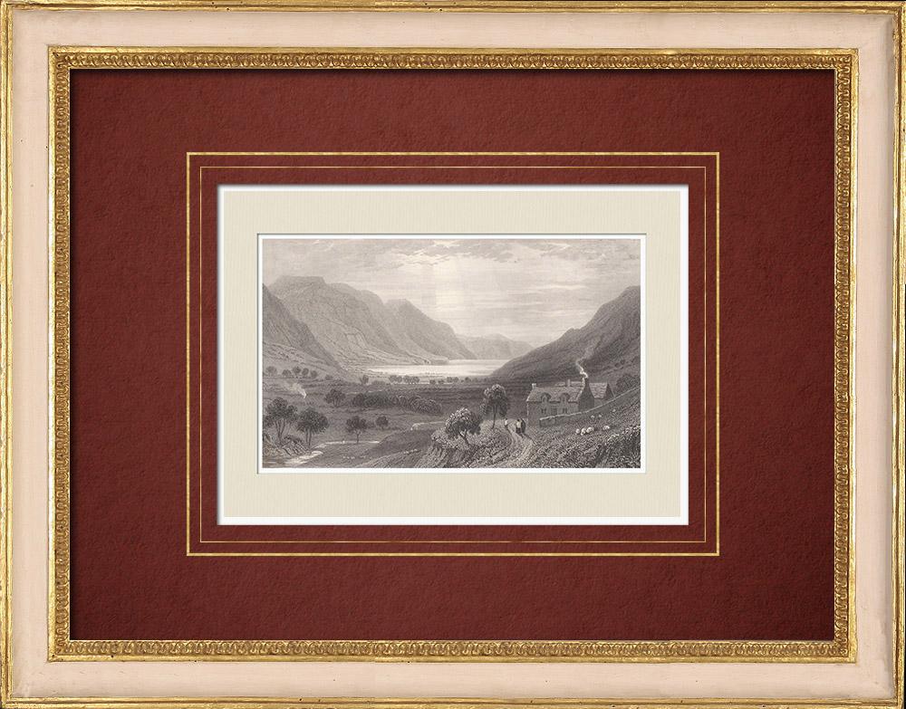 Antique Prints & Drawings | View of Tal-y-llyn Lake - Gwynedd (Wales - United Kingdom) | Intaglio print | 1851