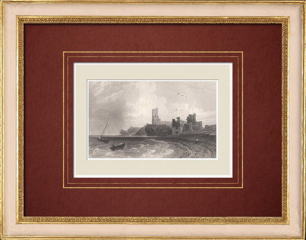Antique Prints & Drawings |  Aberystwyth Castle - Ruins - Ceredigion (Wales - United Kingdom) | Intaglio print | 1851