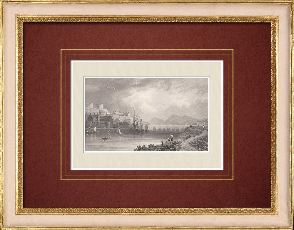 Antique Prints & Drawings   View of Carmarthen - Carmarthenshire - Towi River (Wales - United Kingdom)   Intaglio print   1851