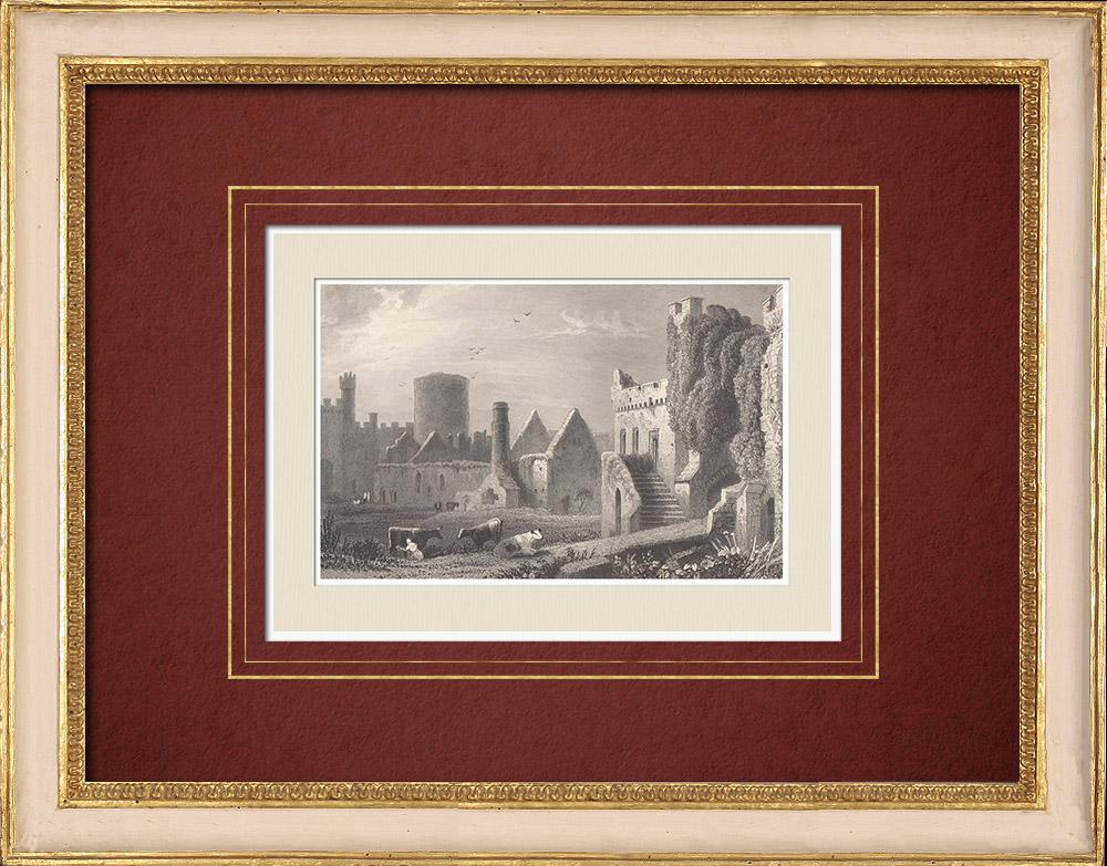 Antique Prints & Drawings   Manorbier Castle - Inner ward - Pembrokeshire (Wales - United Kingdom)   Intaglio print   1851
