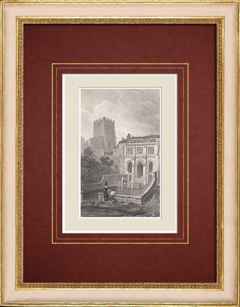 Antique Prints & Drawings | Well - St Winefride's Well - Holywell - Flintshire (Wales - United Kingdom) | Intaglio print | 1851