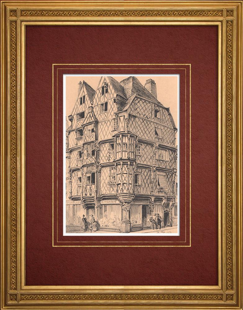 Gravures Anciennes & Dessins | Maison d'Adam - Maison à colombages - Angers - Maine-et-Loire (France) | Lithographie | 1891