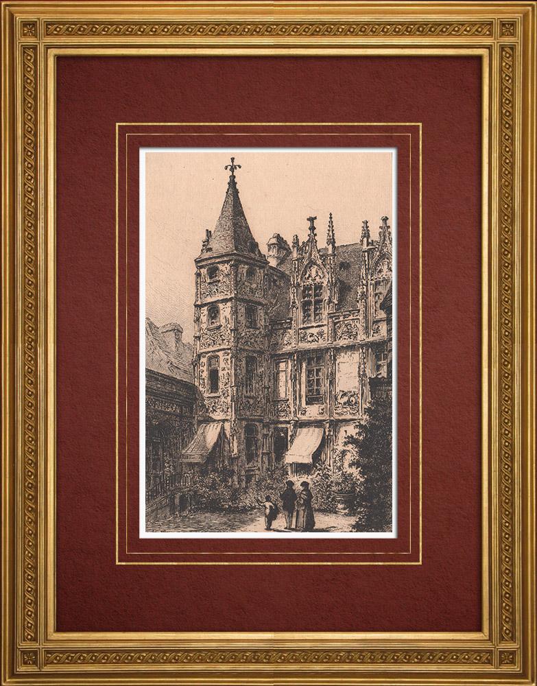 Gravures Anciennes & Dessins   Hôtel de Bourgtheroulde à Rouen - Seine-Maritime (France)   Gravure à l'eau-forte   1884