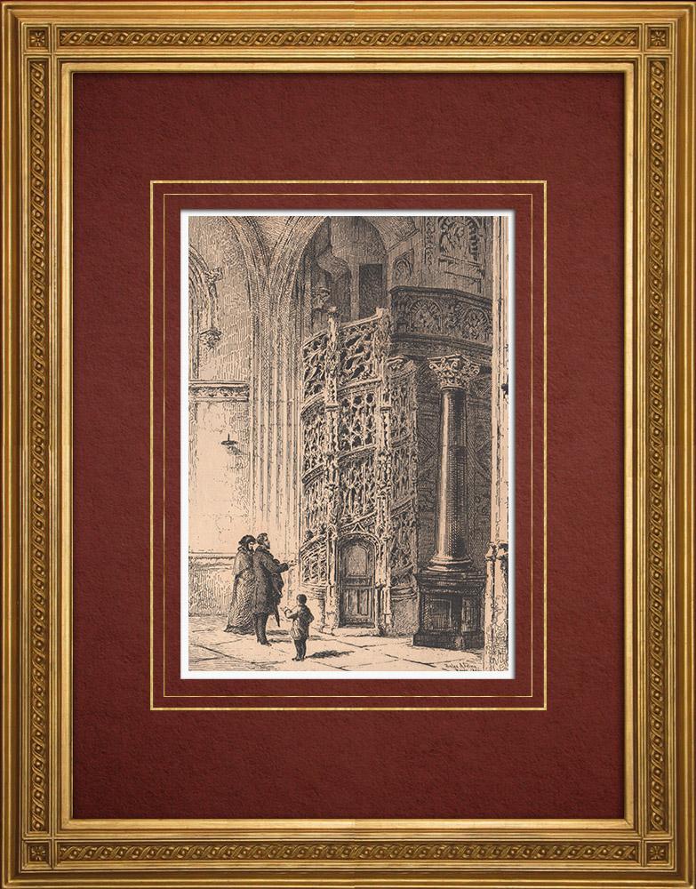 Gravures Anciennes & Dessins   Vue de Rouen - Eglise Abbatiale Saint Maclou - Orgue - Escalier Gothique (France)   Gravure à l'eau-forte   1884