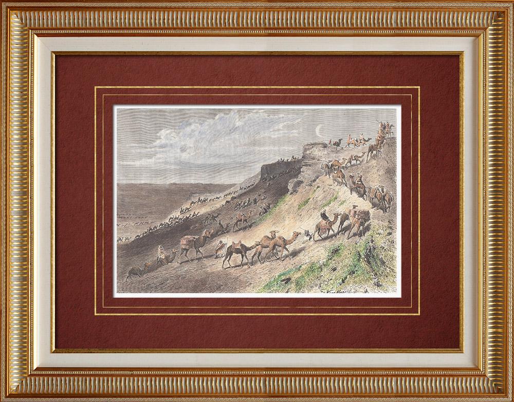 Gravures Anciennes & Dessins | Pèlerinage au Nejd - Nedjed - Akabah dans le Désert - Caravane (Arabie Saoudite) | Gravure sur bois | 1882