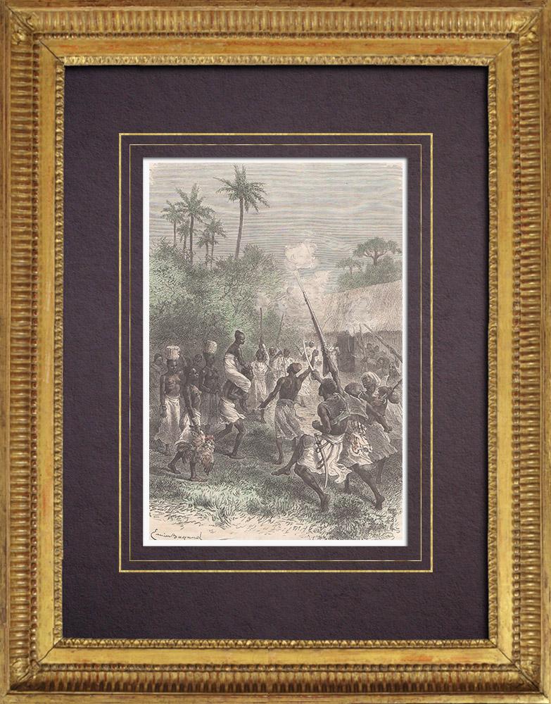 Gravures Anciennes & Dessins   Arrivée de la Fiancée - Mariage - Noces (Tanzanie)   Gravure sur bois   1875