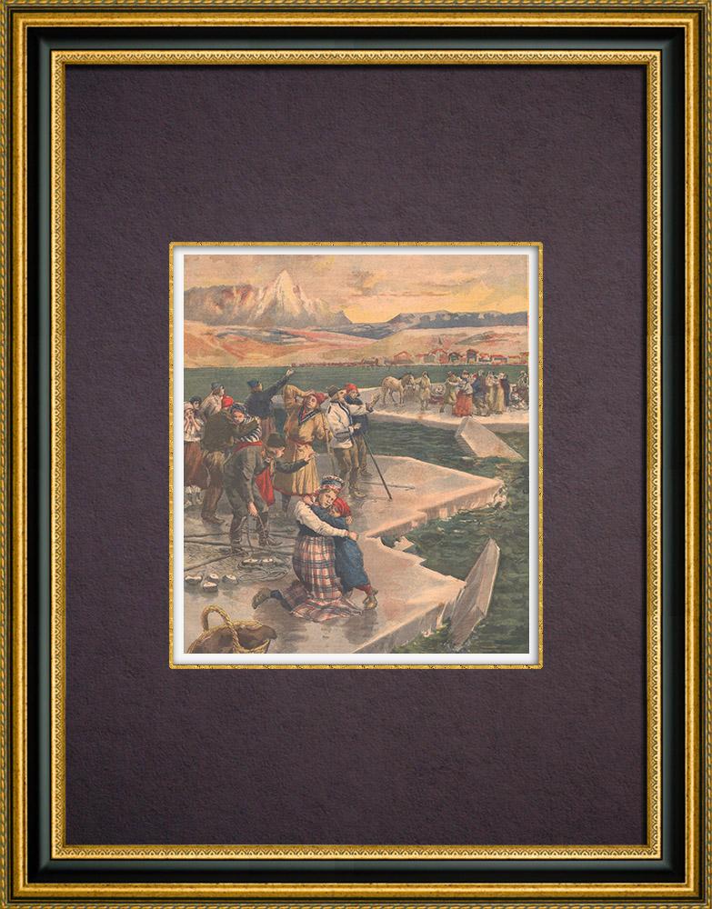 Gravures Anciennes & Dessins   Paysage polaire - Banquise - Arctique - Naufrage - Finlande   Gravure sur bois   1894