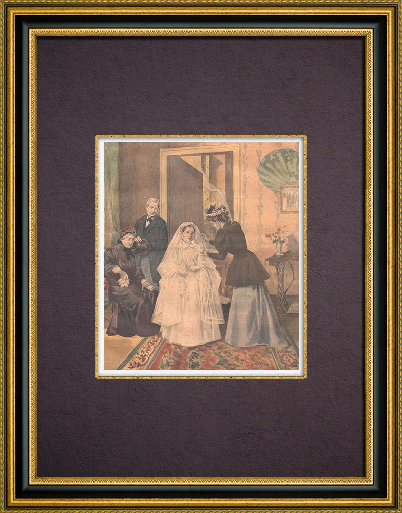 Gravures Anciennes & Dessins | Coutumes religieuses - Toilette - Première communiante | Gravure sur bois | 1894